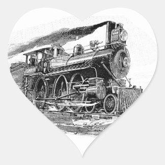 Old Steam Locomotive Heart Sticker