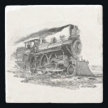 "Old Steam Locomotive Stone Coaster<br><div class=""desc"">Steam locomotive,  vintage engraving. Black and white art.</div>"