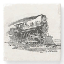 Old Steam Locomotive Stone Coaster