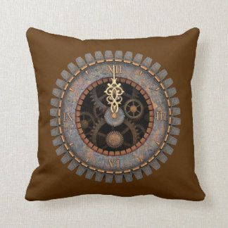 Old Steampunk Clock #1C Throw Pillow