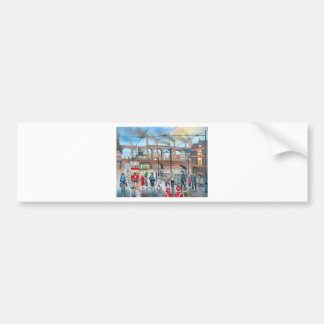 Old Stockport viaduct train oil painting Car Bumper Sticker