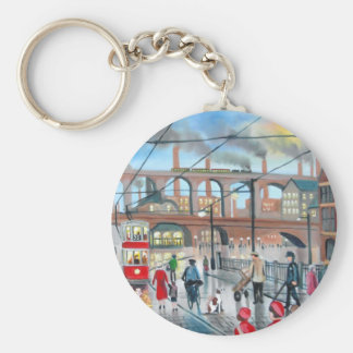 Old Stockport viaduct train oil painting Keychain