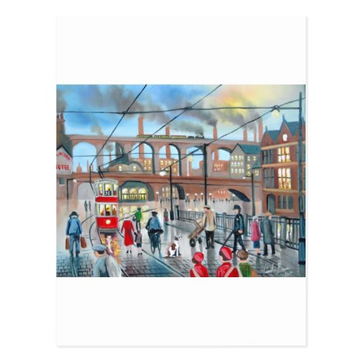 Old Stockport viaduct train oil painting Postcard
