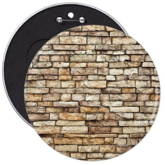 Old Stone Brick Wall Texture 6 Inch Round Button