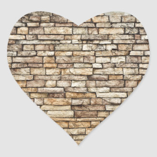 Old Stone Brick Wall Texture Heart Sticker