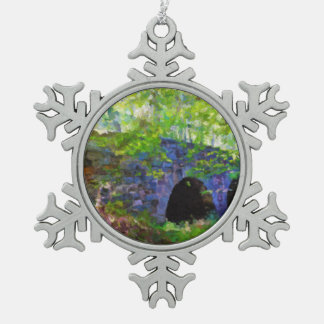 Old Stone Bridge in the forest painting Snowflake Pewter Christmas Ornament