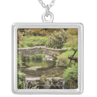 Old Stone Bridge Over A Stream In Dartmoor Park Silver Plated Necklace