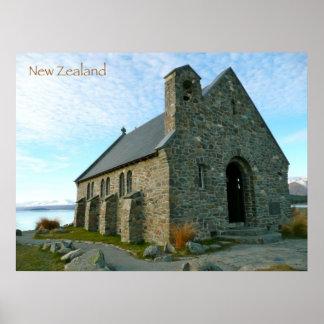 Old Stone Church at Lake Tekapo Print