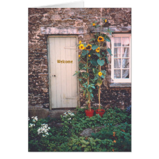 """""""OLD STONE COTTAGE AND SUNFLOWERS"""" CARD"""