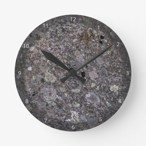 Old Stone Covered by Moss and Lichen Round Wall Clock