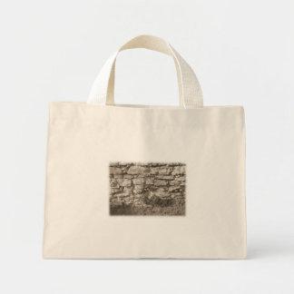 Old Stone Garden Wall. Sepia Color. Canvas Bag