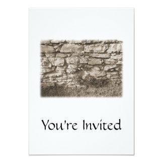 "Old Stone Garden Wall. Sepia Color. 5"" X 7"" Invitation Card"