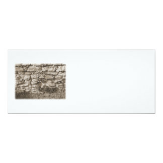 "Old Stone Garden Wall. Sepia Color. 4"" X 9.25"" Invitation Card"