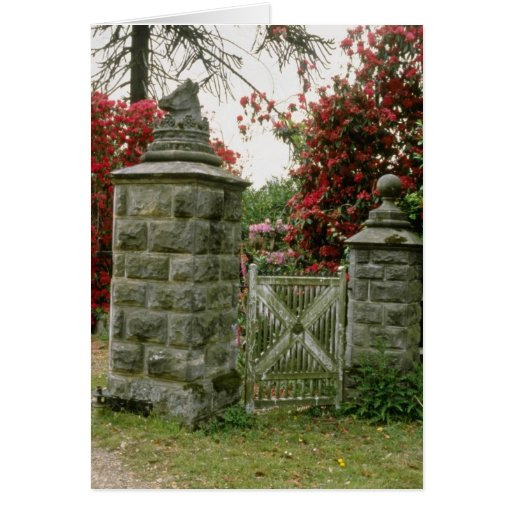 Old Stone Gateway With Rhododendron flowers Greeting Card