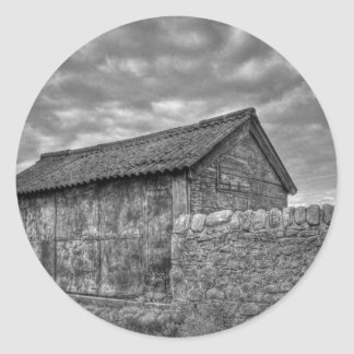 Old stone house in Lancashire Classic Round Sticker