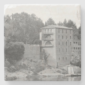 Old Stone Mill (B&W) Marble Coaster
