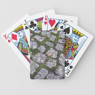 Old Stone Pavement With Moss And Grass Background Bicycle Playing Cards