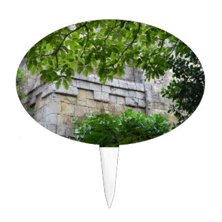 old stone wall framed in leaves cake topper