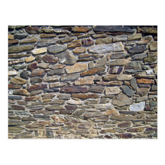 Old Stone Wall Made Of Randomly Stacked Blocks Postcard