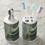 Old Stone Wall Soap Dispenser And Toothbrush Holder