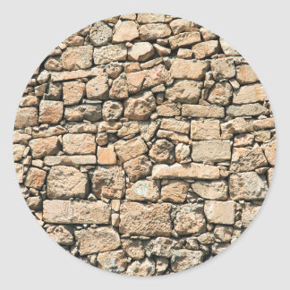Old stone wall texture classic round sticker