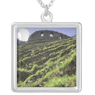 Old structure at top of steep hill square pendant necklace