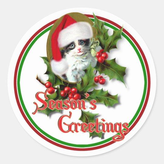 Old Style Christmas Kitten Season's Greetings Classic Round Sticker