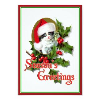 Old Style Christmas Kitten Season's Greetings 5x7 Paper Invitation Card
