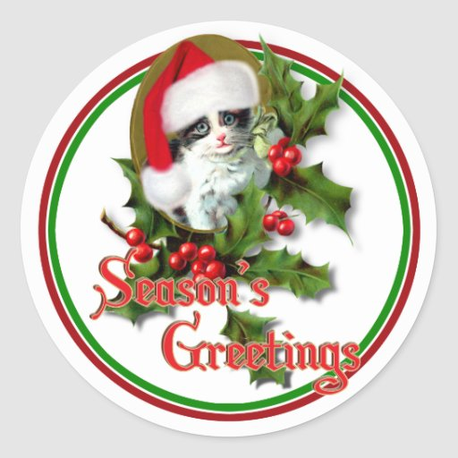 Old Style Christmas Kitten Season's Greetings Round Sticker