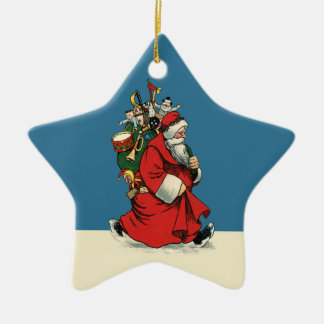 Old-style Father Christmas with Traditional Toys Ceramic Ornament