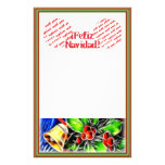 Old Style Holly With Golden Bell Personalized Stationery