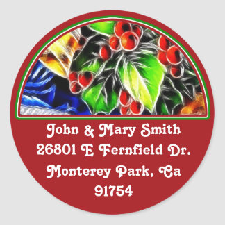 Old Style Holly With Golden Bell Classic Round Sticker
