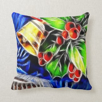 Old Style Holly With Golden Bell Throw Pillow