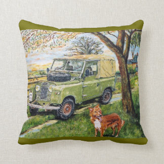 Old Style Land Rover Cushion. Throw Pillow