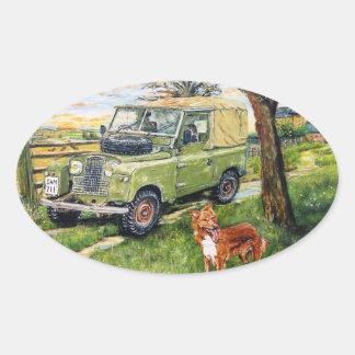 "Old style Land Rover Sticker ""FARM"" Design Oval Sticker"