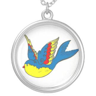 Old style tattoo bluebird round pendant necklace