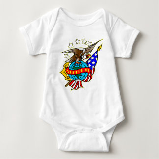 Old Style Tattoo Eagle Flag Semper Fi Baby Bodysuit
