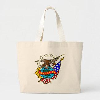 Old Style Tattoo Eagle Flag Semper Fi Large Tote Bag