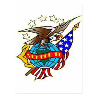 Old Style Tattoo Eagle Flag Semper Fi Postcard