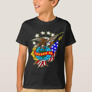 Old Style Tattoo Eagle Flag Semper Fi T-Shirt