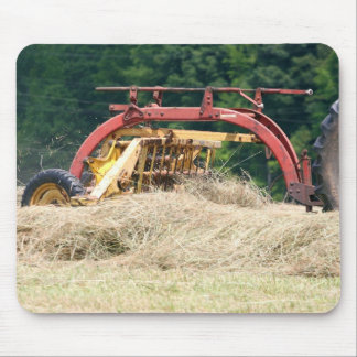 Old Style Towed Hay Rake At Work Mouse Pad