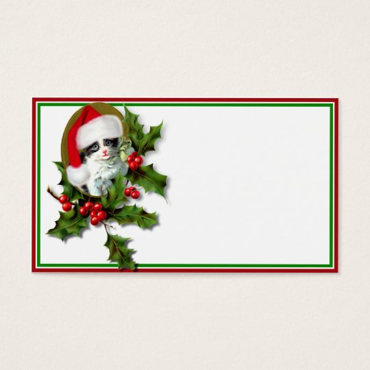 Old Style Vintage Christmas Kitten Business Card