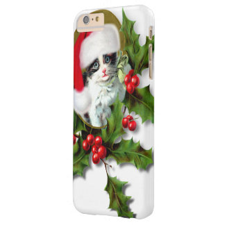 Old Style Vintage Christmas Kitten Barely There iPhone 6 Plus Case