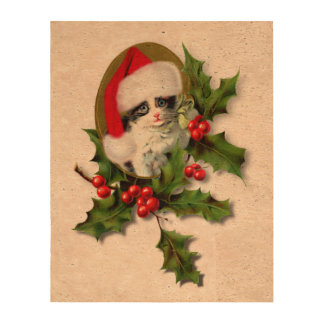 Old Style Vintage Christmas Kitten Cork Paper Print