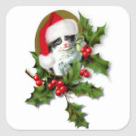 Old Style Vintage Christmas Kitten Sticker