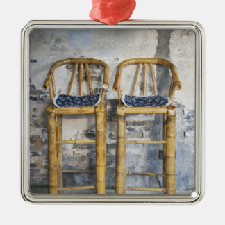 Old styled bamboo chairs, Xitang, Zhejiang, Square Metal Christmas Ornament