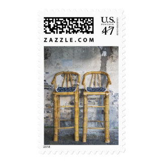 Old styled bamboo chairs, Xitang, Zhejiang, Stamp