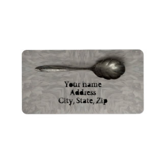 Old sugar spoon address label