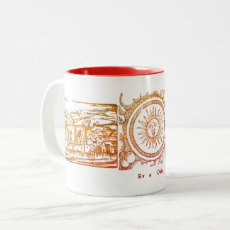 Old Sun engraving Two-Tone Coffee Mug