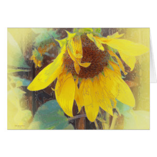 Old Sunflower Bowing Greeting Card